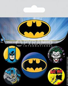 Batman 5 round Pin Badges in Pack (py)